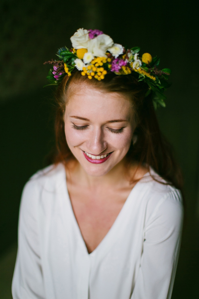 portrait of bride wearing flower crown