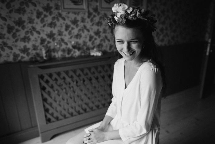 bride wearing flower crown