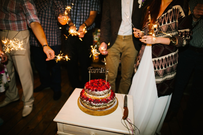 wedding cake and sparklers