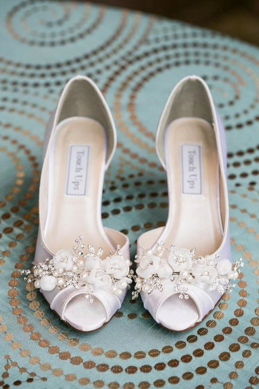 swarovsky white low heels