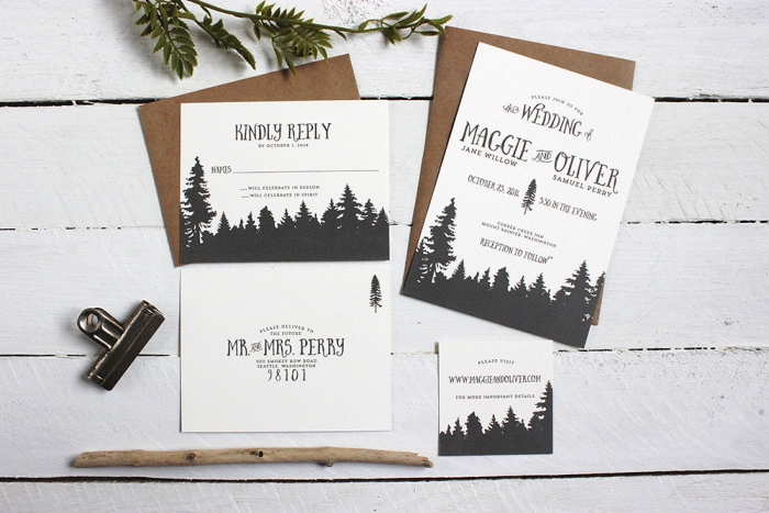 whismical forrest wedding invite