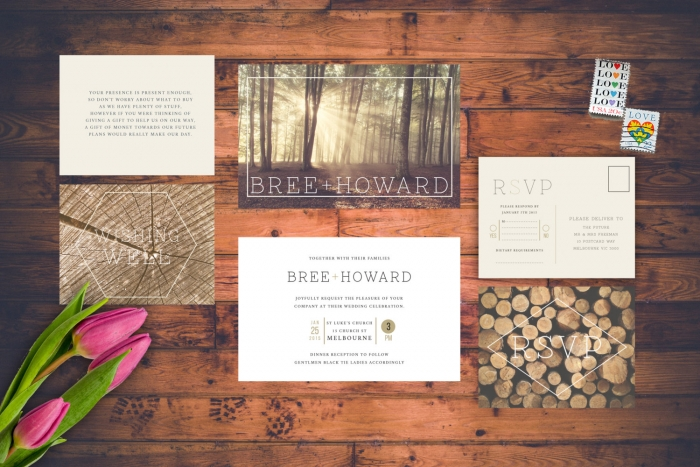 wood trees wedding invite