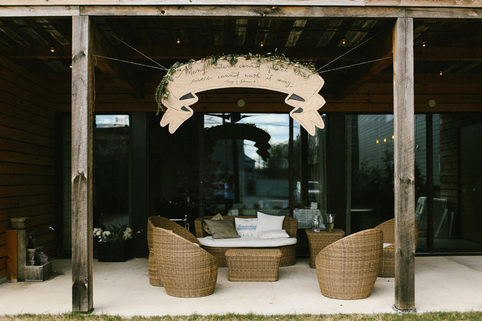 wedding banner over seating area