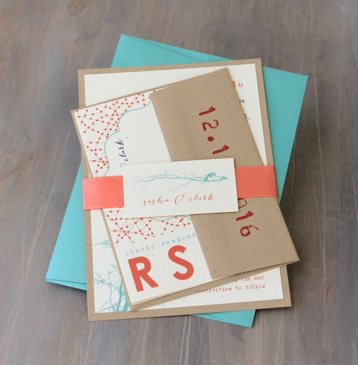 aqua modern wedding invites - Modern Wedding Invites