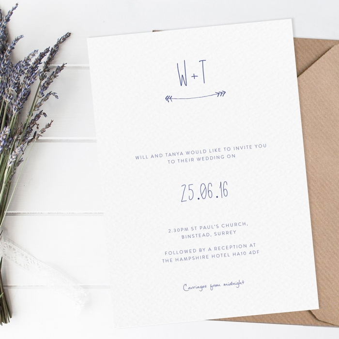 clean simple modern wedding invite