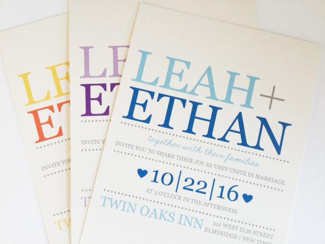 clean wedding invite print