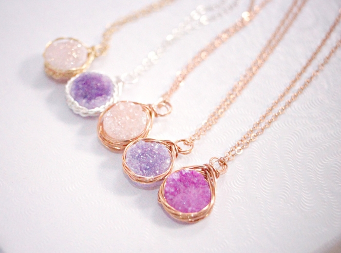 druzy pendants gold