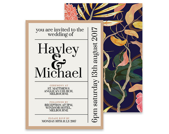flower pattern modern wedding invites