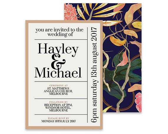 flower pattern modern wedding invites