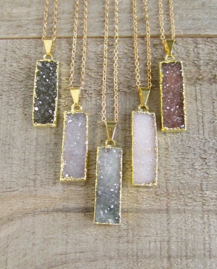 gold druzy pendants