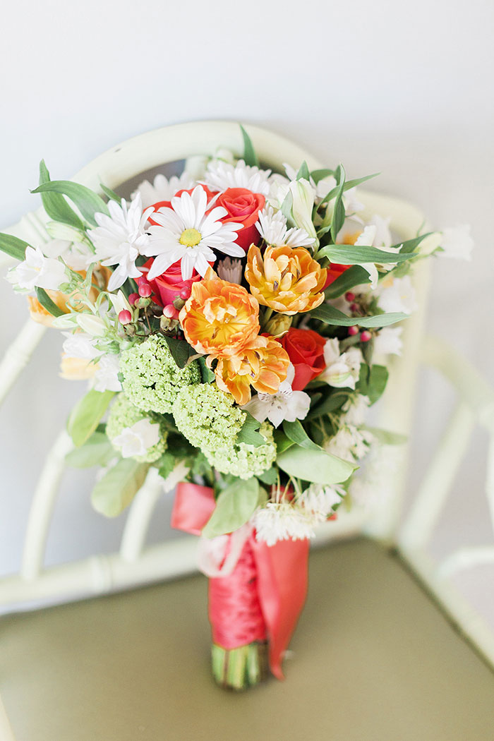 orange, pink and green wedding bouquet