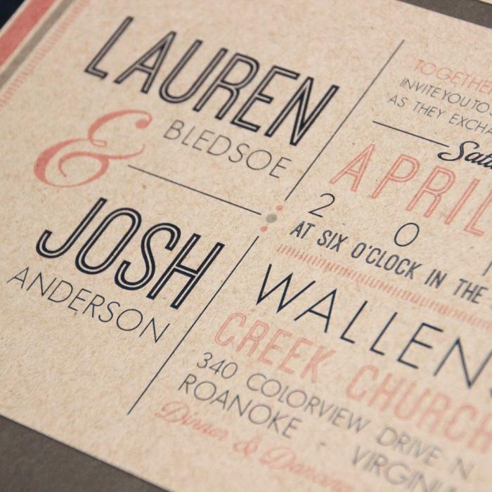 kraft paper wedding invite