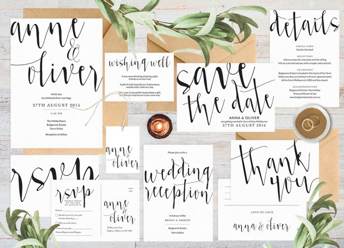 modern wedding invite set