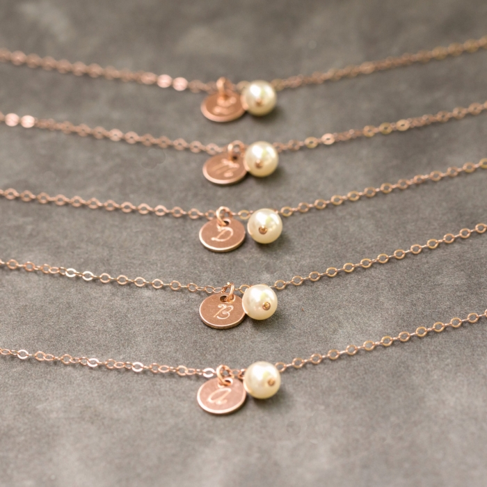 personalized rose gold and pearl necklace