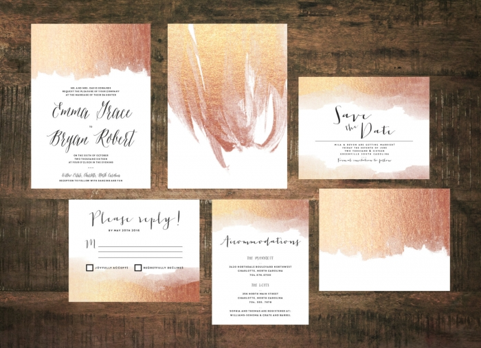 rose godl wedding invite
