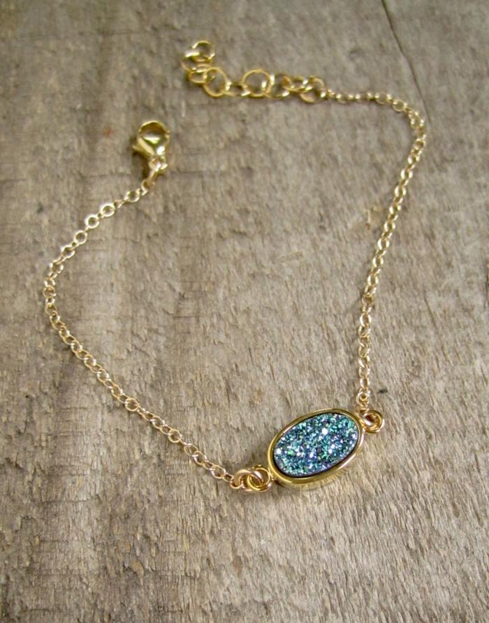 simple blue druzy bracelet