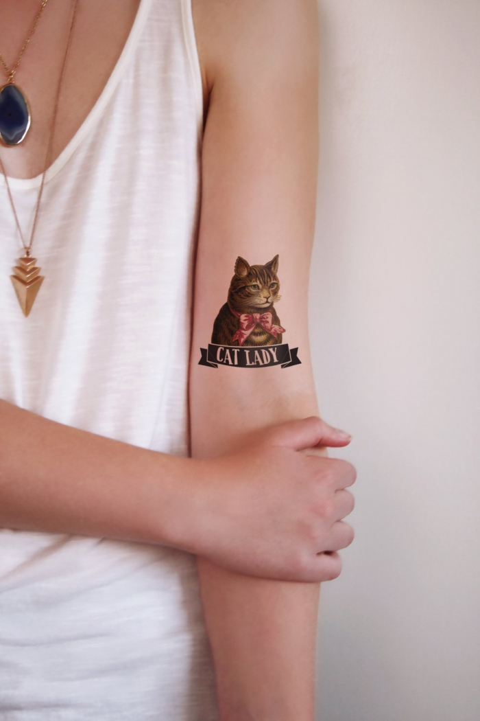 temporary cat lady tattoo