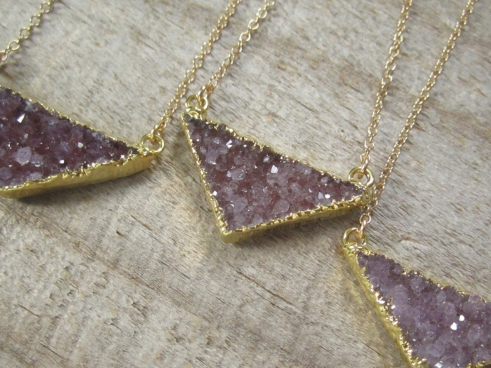 triangle druzy necklace