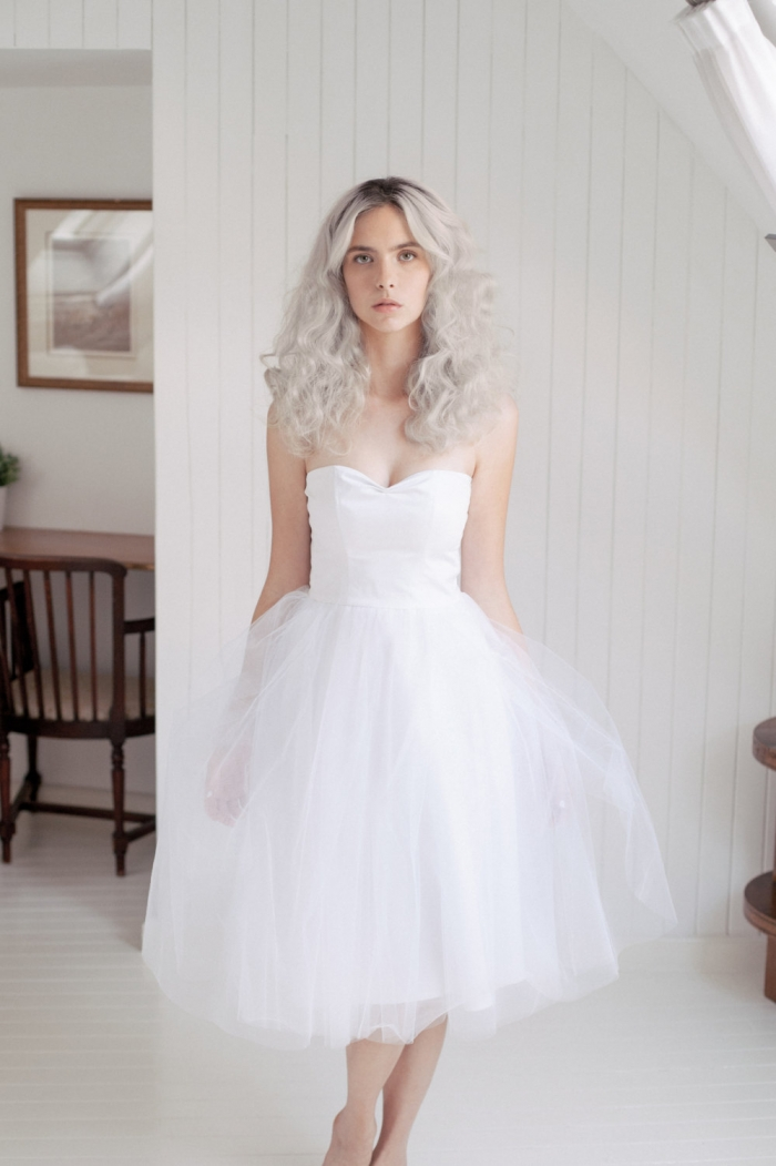 white tulle tea dress