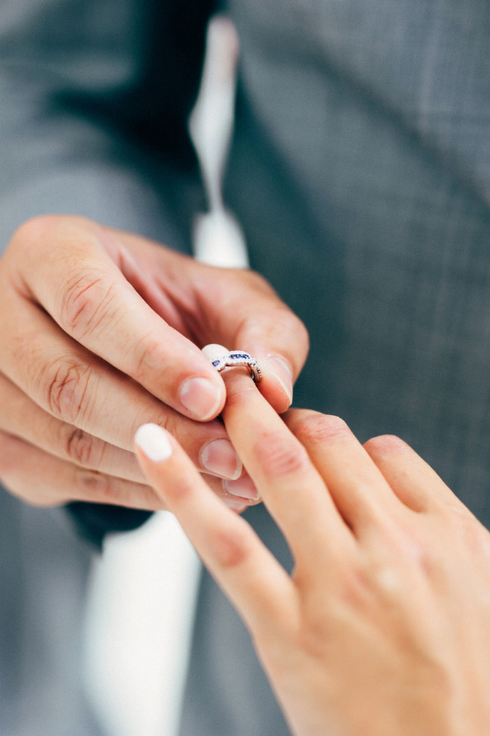 ring being put on bride's finger