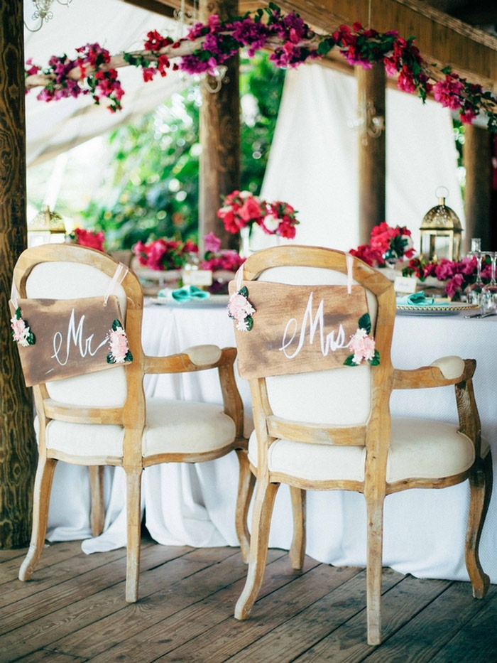 mrs and mr signs on chair backs