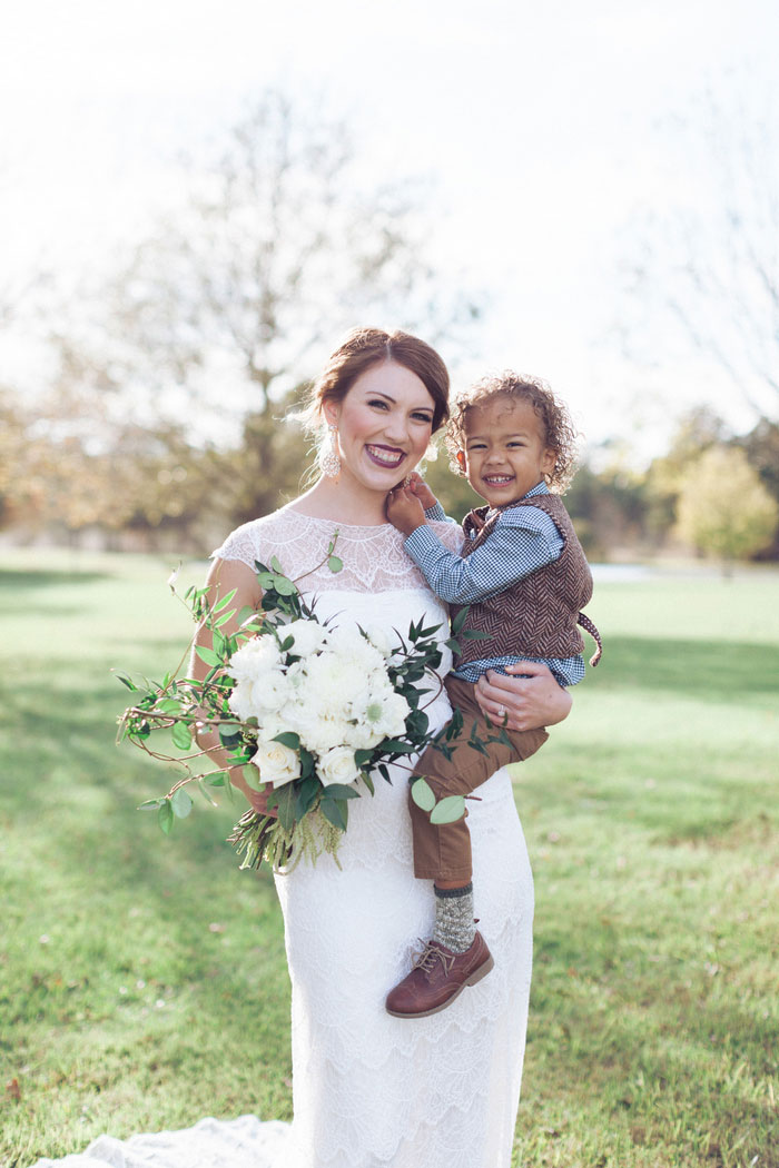 bride with son portrait