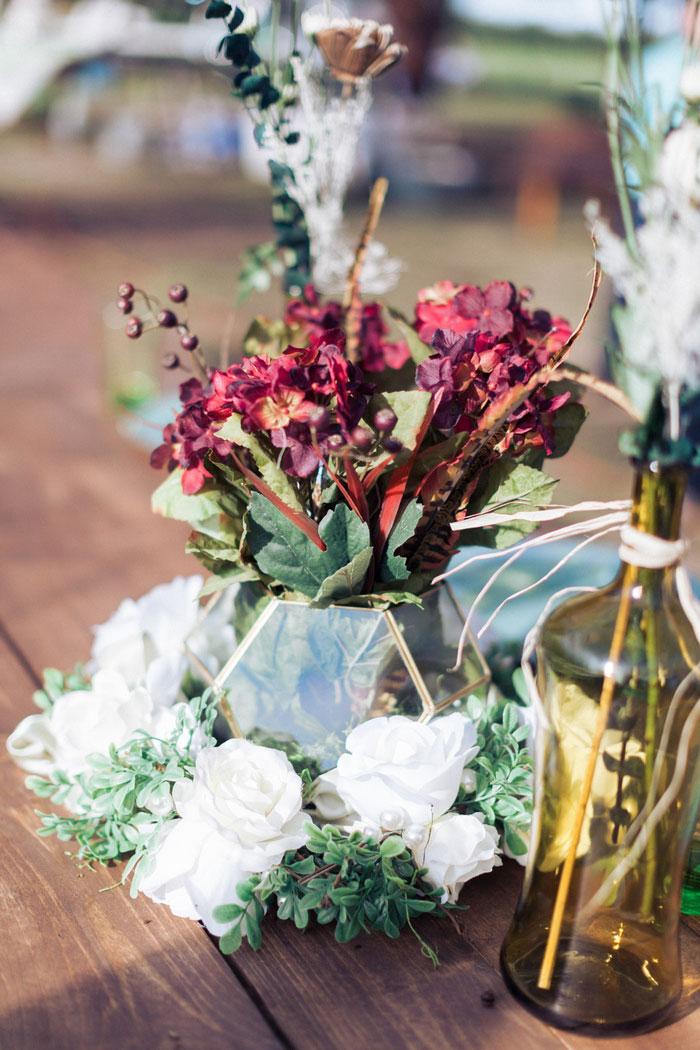 rustic floral centrepiece