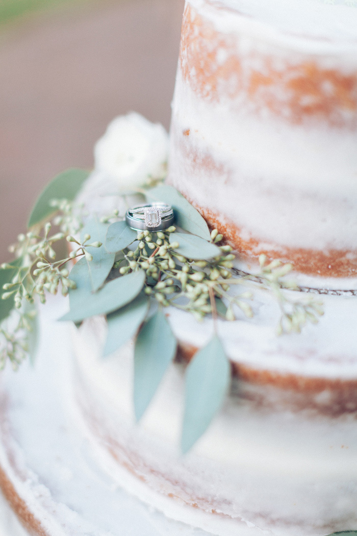 wedding rings on naked wedding cake