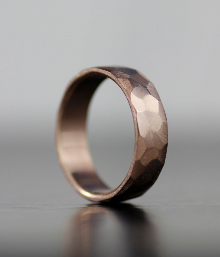faceted rose gold band