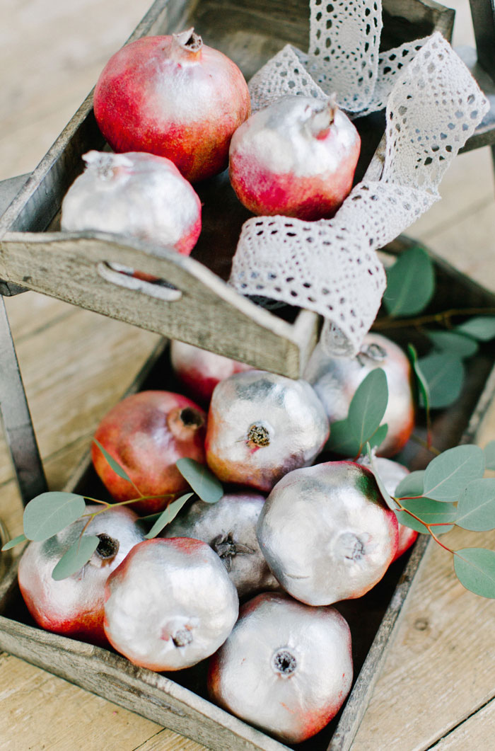 silver spray painted pomegranates