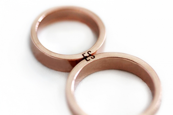 personalized wedding band rose gold