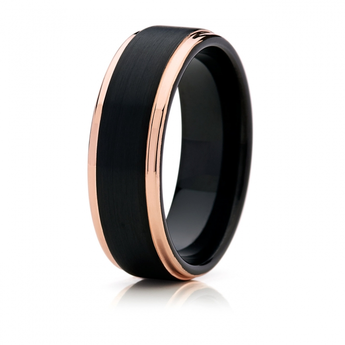 tungsten and rose gold wedding band