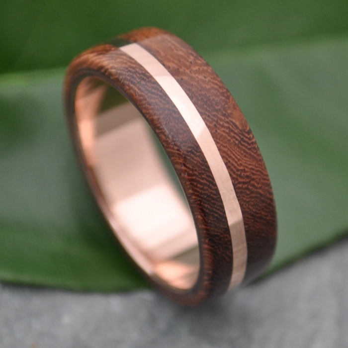 wood and rose gold wedding band