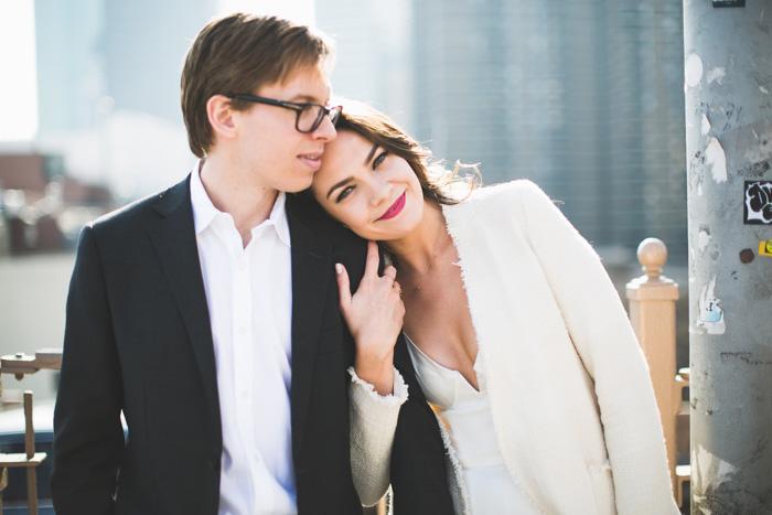 Brooklyn bridge wedding portrait