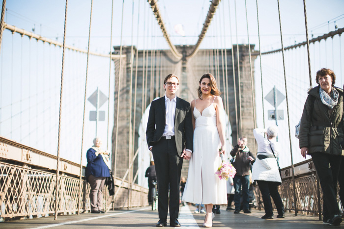 Brooklyn bridge wedding portrait