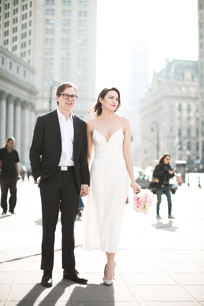 bride and groom portrait in New York