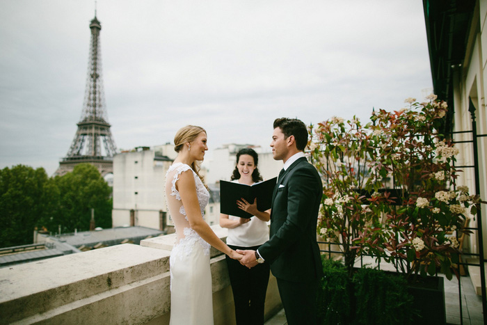 Paris elopement ceremony on balcony