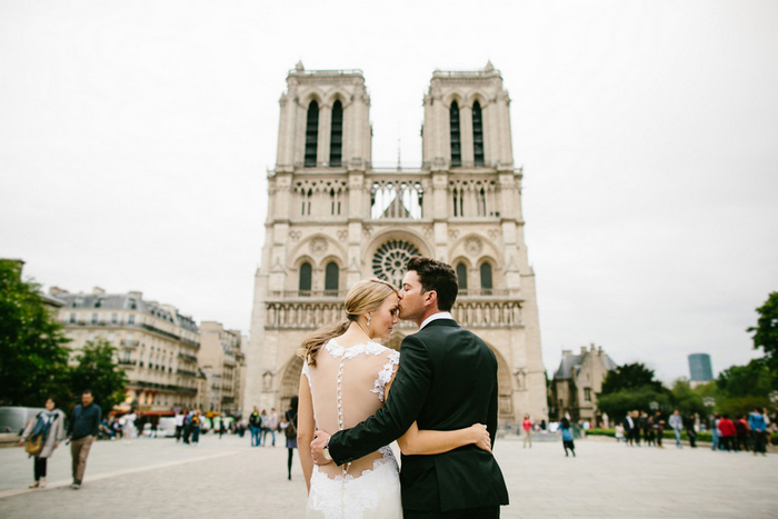Paris wedding portrait in front of Notre Dame