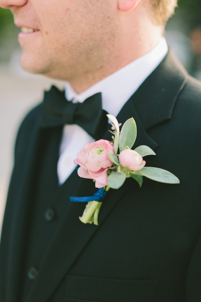 close-up of groom's boutonniere