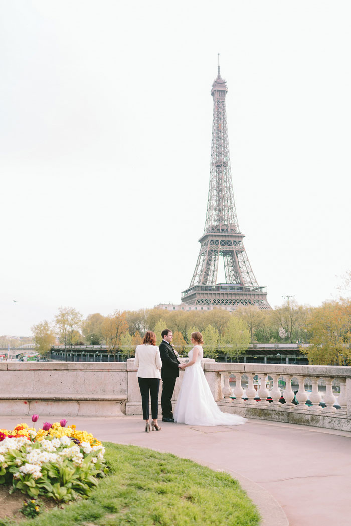elopement ceremony with Eiffel Tower in the background
