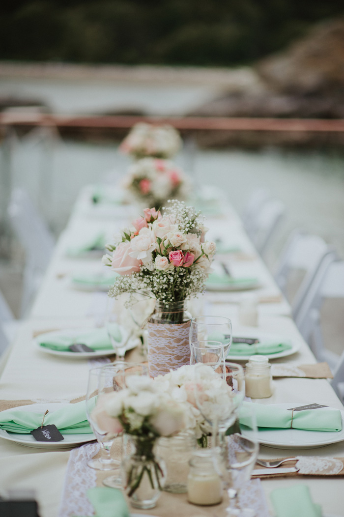 wedding reception table set-up outside