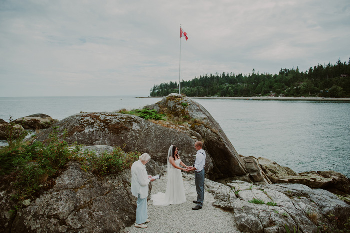 outdoor wedding ceremony by the ocean