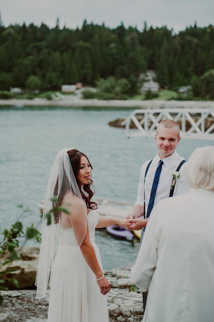 outdoor wedding ceremony by the ocean