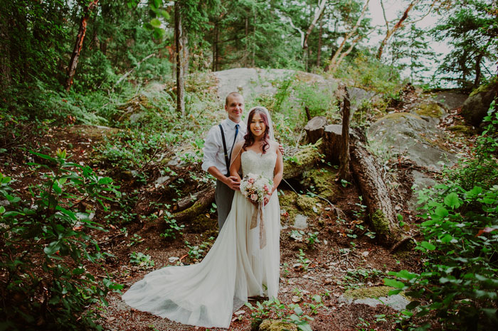 woodland wedding portrait
