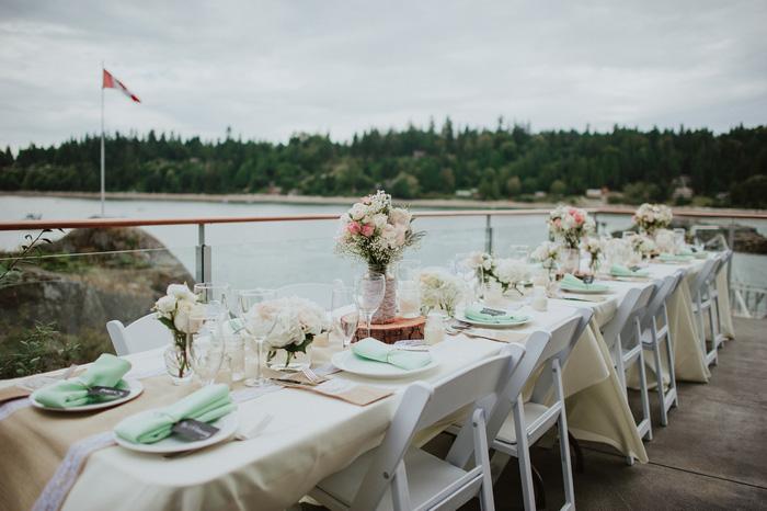 wedding reception table set-up outside