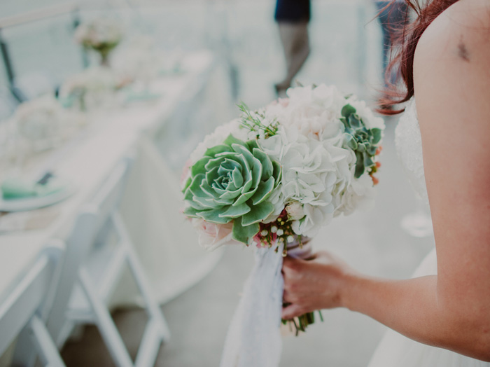 succulent and peony wedding bouquet