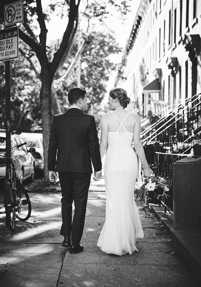 bride walking down Brooklyn street