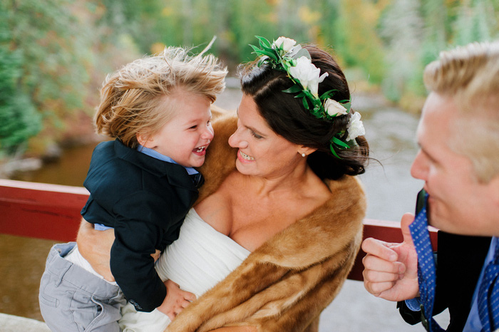 bride holding son
