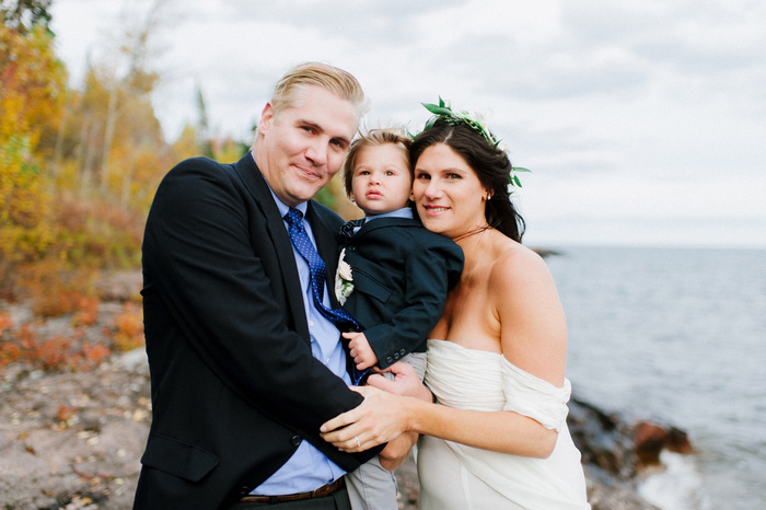 bride and groom portrait with son