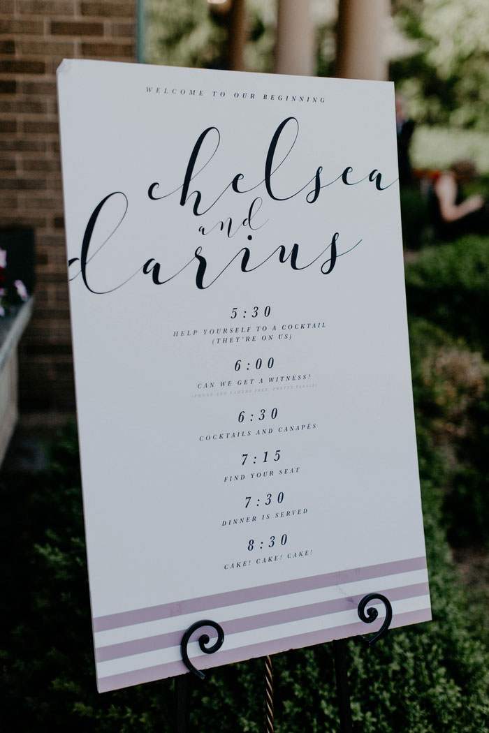 hand lettered wedding sign